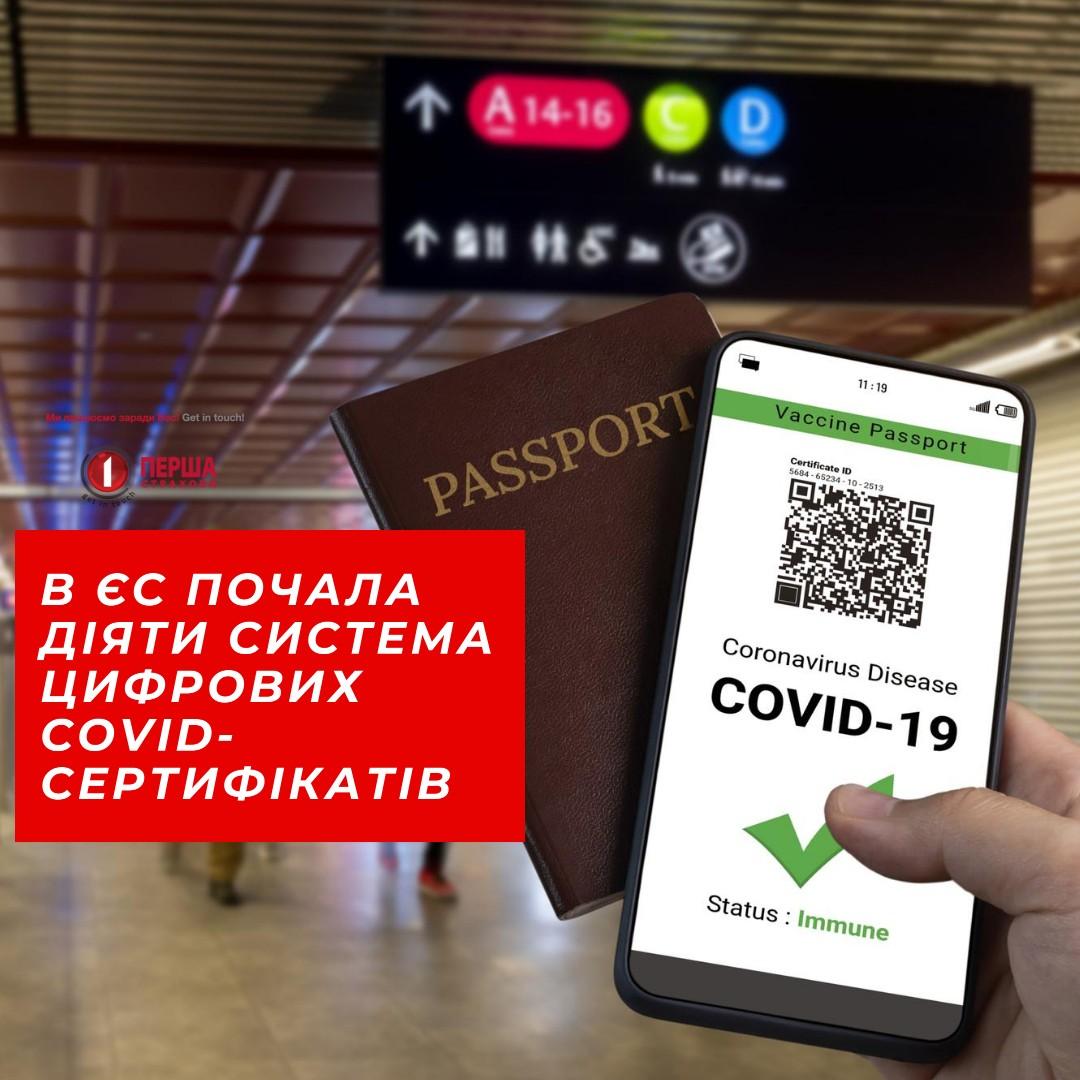 В ЄС почала діяти система цифрових сертифікатів COVID-19 для поїздок всередині Євросоюзу